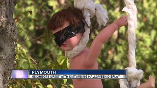 Neighbors call one Plymouth resident's Halloween decorations disturbing - Video