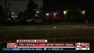 Two people in critical condition after crash near Downtown Tulsa - Video