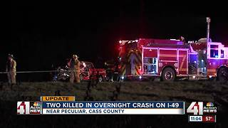 Two dead in crossover crash on I-49 near Peculiar - Video