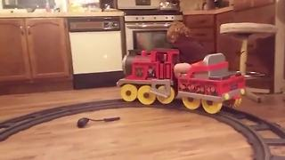 Toddler Boy Falls Asleep On A Toy Train - Video