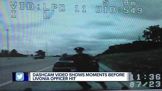 Dashcam video shows moments before Livonia officer hit - Video
