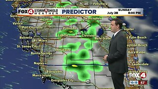 Forecast: Sunday will be much like Saturday with inland storms.
