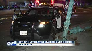 SDPD officer hurt after vehicle crash during chase - Video
