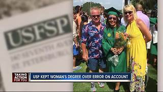 USF kept woman's degree over account error - Video