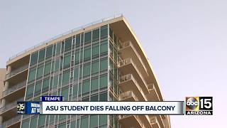 ASU students falls off balcony at high-rise, dies - Video