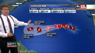 Irma upgraded to a category 3 hurricane in the Atlantic Ocean - Video