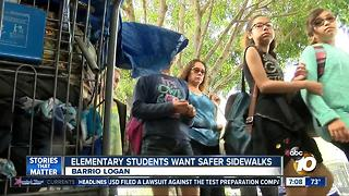 Elementary students want safe sidewalks - Video