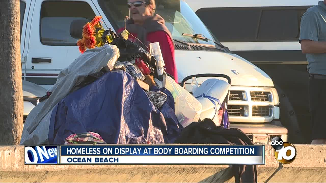 Homeless on display at bodyboarding competition
