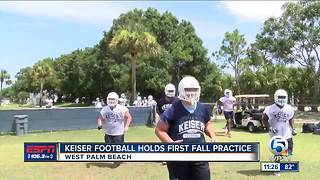 Keiser footbal holds first fall practice - Video