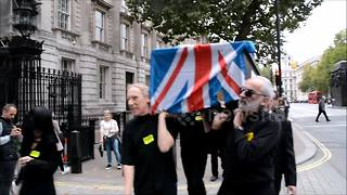 Anti-Brexit protesters march down Whitehall in London - Video