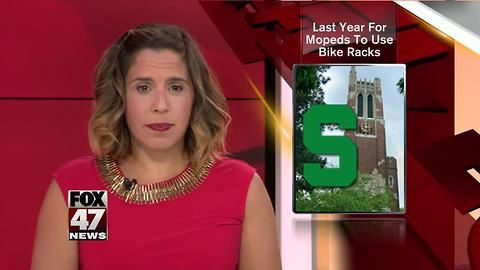 Students can park mopeds at bike racks