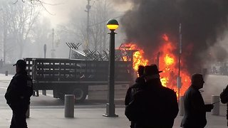 NYPD Truck Catches Fire in Columbus Circle - Video