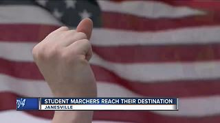 Students gain attention after marching 50 miles from Madison to Janesville - Video
