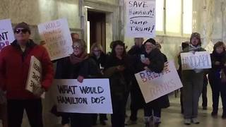 Protestors at Idaho Statehouse as electors cast their ballots for Donald Trump - Video
