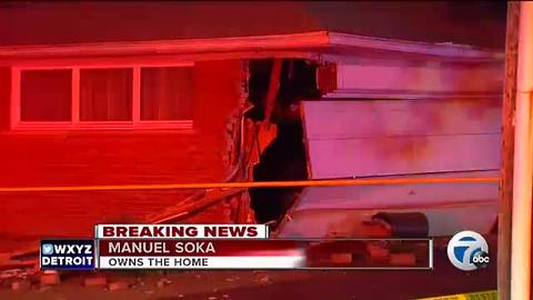 Chain reaction crash sends car slamming into house