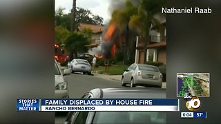 Rancho Bernardo family displaced after house fire - Video