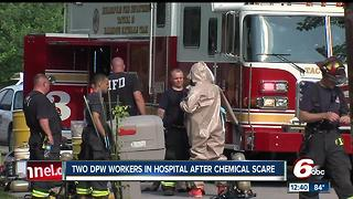 2 DPW employees taken to hospital after inhaling smoke from acid - Video