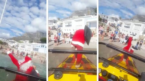 Santa splash! Video of Santa Claus falling off boat into sea goes viral