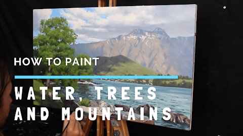How to Paint WATER, TREES and MOUNTAINS