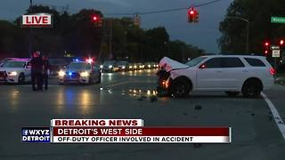 Off-duty officer involved in accident on Detroit's west side - Video