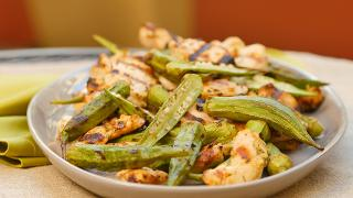 Grilled Lemon-Garlic Chicken with Grilled Okra - Video