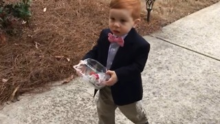 Shy Toddler Boy Gives His Toddler Girl Crush Flowers - Video