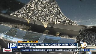 Vehicles parked on National City street vandalized with acid or other chemical
