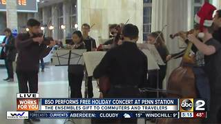 BSO performs free holiday concert at Penn Station - Video