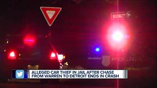 Alleged car thief arrested after police chase ends in crash in Detroit - Video