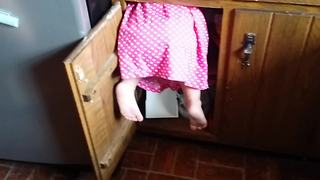 Toddler Got Stuck In A Cabinet
