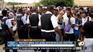 Protests break out after officer involved shooting - Video