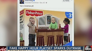 Fake 'Happy Hour Playset' sparks social media outrage, laughter - Video