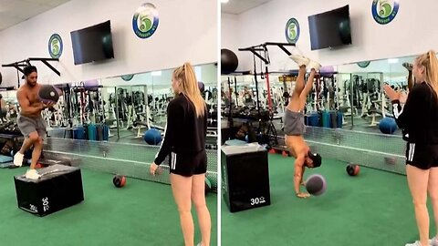 Hand-standing Save! This Gym Goer Pulls Off Smooth Handstand After Falling Off Box