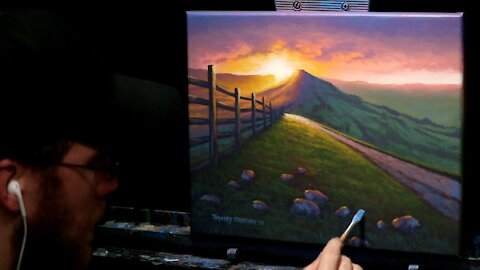Acrylic Landscape Painting of a Sunrise - Time Lapse - Artist Timothy Stanford