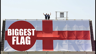 Pub mad boozer claims to have Britain's biggest England flag - Video