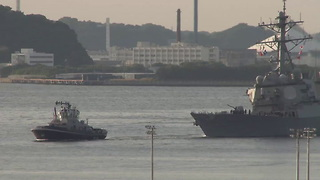 USS Fitzgerald Arrives Back in Japan Safely. - Video