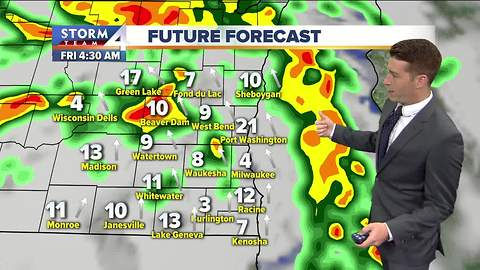 Grey and gloomy Friday with scattered showers