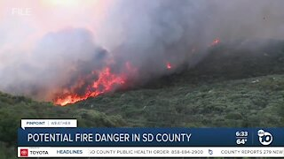 High temperatures create potential for fire danger in SD County
