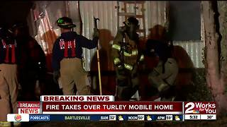 Turley mobile home catches fire