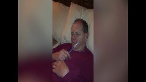 Man Falls Asleep with Toothbrush Still in his Mouth