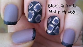 Black & beige matte nail art - Video