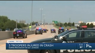 Three Troopers injured in crash during procession