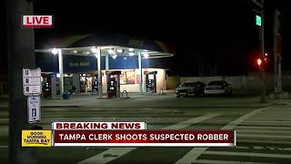 Police: Clerk shoots man in leg who tried to rob his store - Video