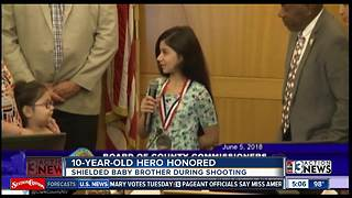 UPDATE: 10-year-old honored for shielding baby from gunshots - Video