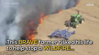Farmer Battles Wildfire With His Tractor