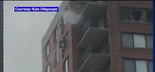 NY firefighters perform a roof rope rescue