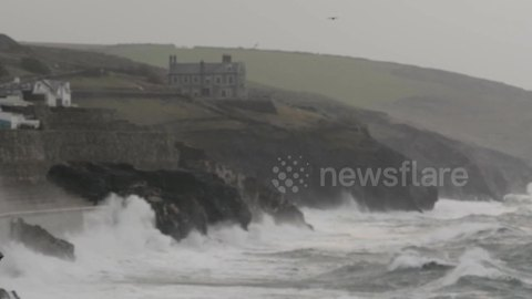 Waves and strong winds hit Porthleven, Cornwall