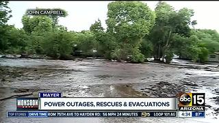 Flash flooding hits Mayer - Video
