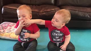 Identical twins each want the other's pacifier