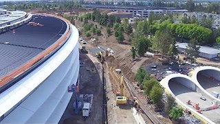 Drone Footage Shows 'Finishing Touches' Being Put on Giant Apple Campus - Video